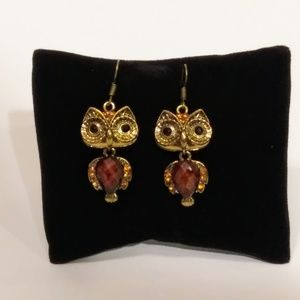 Amber and Gold Colored Fashion Earrings NWT